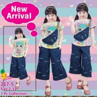 Little Pineapple Setelan Anak LOL Celana Kulot Jeans 217-5