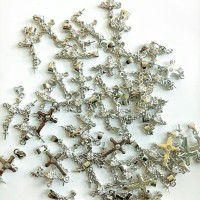 Charm bandul liontin logam salib meliuk dengan kristal 1.1*3cm (/PCS)