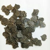 Charm bandul liontin logam bakar daun wajik pipih 15mm (isi 108)