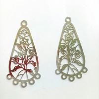 Charm bandul liontin logam oval motif bunga pipih 2*3.5cm (isi 2)