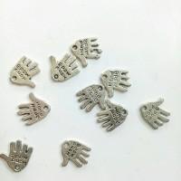 Charm bandul liontin logam telapak tangan silver 1.1*1.3cm (isi 10)