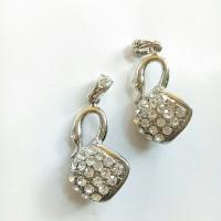 Charm bandul liontin logam angsa kristal silver 1.8*4cm (isi 2)