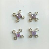 Charm bandul liontin logam manik ungu 10mm (isi 4)