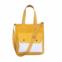 Tote Bag - Saku Hobo bahan tebal Premium Yellow White