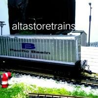 miniatur Kereta api gerbong datar dan kontainer