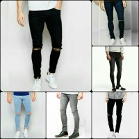 celana ripped jeans pria knee cut black