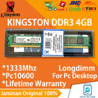 RAM KINGSTON LONGDIMM DDR3 4GB PC10600 / 1333Mhz MEMORY PC NEW DDR 3