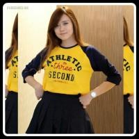 Kaos Distro Three Second Wanita Raglan Athletic Kuning