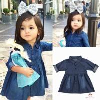 Xzq-dress Gaun Casual Lengan Panjang Bahan Denim untuk Anak