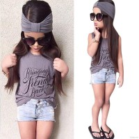 3pcs Toddler Kids Baby Girl Outfits Sets Headband+Top T-shirt+Jeans