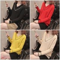 Sweater Kaos Turtleneck Lengan Panjang Warna Polos Ukuran Besar