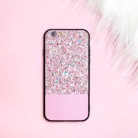 GLITTER CASE (WARNA PINK) Iphone 6/6s/6+/6+s/7/7+/8/8+/X OPPOF1s
