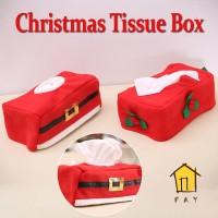 Kotak Tisu Bentuk Semanggi Bahan Flanel untuk Ornamen Natal / Tahun