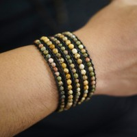 UNISEX Green & Brown Jasper Wrap Bracelet / Gelang Tali / Gelang Batu