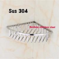 Sus 304 Rak tempat sabun kawat sudut stainless steel shampo kamar