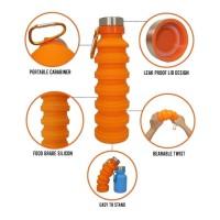 Botol Lipat Telescopic Silicon 500ml Tempat Minum Outdoor Portable
