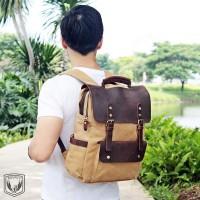 Tas Ransel Laptop Backpack Pria Branded Genuine Leather Kanvas Bourzu