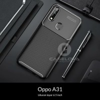 Case Oppo A31 ( 6.5 inch ) Synthetic Fiber Protective Carbon