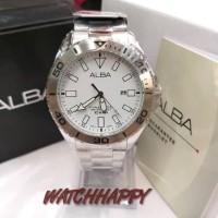 Jam Tgn Pria ALBA ORIGINAL 100% AH9023X1 White Dial Best Seller AH9023