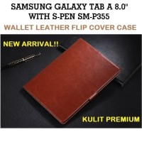 Samsung Tab A 8 8.0 Inch A8 P355 S-Pen Leather Flip Cover Case Casing - P355, Hitam