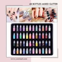 48 bottle mixed glitter mix deco nail art caviar beading fimo gliter