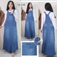Baju Overall Jumpsuit Dress Rok Kodok Panjang Bahan Jeans Jumbo Besar