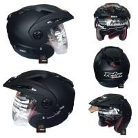 Helm RN BLACK DOFF Double Visior / Helm SNI / Helm Half Face / Helm Sp
