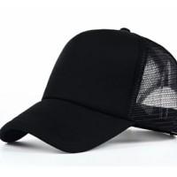 TOPI trucker polos hitam / topi hitam jaring / topi jaring polos pria