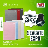 Seagate New Backup Plus Slim 2TB / HDD Eksternal / Garansi 3 Tahun
