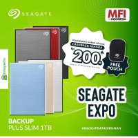 Seagate New Backup Plus Slim 1TB / HDD Eksternal / Portable Drive