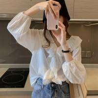 HOT Blus V-Neck Lengan Panjang Ruffle Bahan Lace Gaya Korea