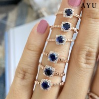 AYU Wave Solitaire Royal Blue Stone 17K Rose Gold