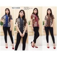 Baju Blouse Batik Atasan Wanita Jawa Parang Formal Kerja Kantor NG714 - Hitam