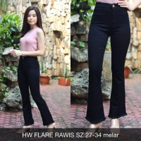 Celana Jeans Wanita HW Flare Rawis Cutbray Highwaist Black Stretch Big