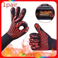 Sarung Tangan Oven Anti Panas - Heat Resistant Fire Gloves Api BBQ - Hitam