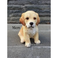 patung pajangan miniatur anjing golden retriever duduk besar doggy