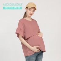 MOOIMOM Casual Ruflle Sleeve Maternity & Nursing Top - Baju Hamil & Me