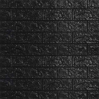 Wallpaper 3D ZT0110 Brick Foam Black Wallpaper Dinding Batu Bata Hitam