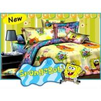 Full Set Bedcover Fata Single 120 Motif Spongebob Sponge Bob