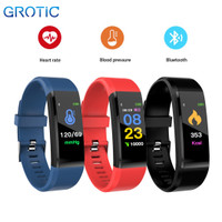 GROTIC Smartband Sport dengan Monitor Tekanan Darah Detak Jantung - Merah