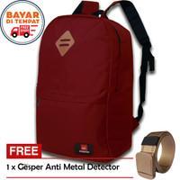 Tas Ransel Free Gesper - Tas Pria Tas Ransel KH022 Tas Laptop Murah - Merah