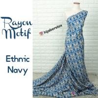 HijabersTex 1/2 Meter Kain RAYON MOTIF Ethnic Navy