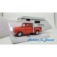 Diecast 1955 Chevy Stepside Truck Camper Kinsmart 1:32