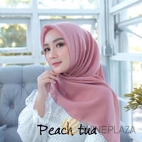 Bella Square Hijab Segiempat Peach Tua - Jilbab Segiempat