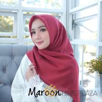 Bella Square Hijab Segiempat Maroon - Jilbab Segiempat