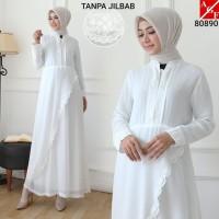 Baju Gamis Putih Wanita Brukat 80890 Size Jumbo 3L, 4L, 5L