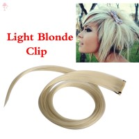 LC Light Blonde Long Punk Clip On Hair Straight Extensions @ID