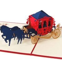 Kartu Ucapan Pop Up 3D Desain Kereta Kuda untuk Ulang Tahun / Natal