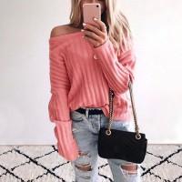 Sweater Rajut Casual Off Shoulder Sabrina Lengan Panjang Warna Polos
