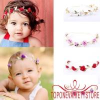 ❣TOP☞Baby Kids Toddler Girl Princess Crown Rose Leaf Headband